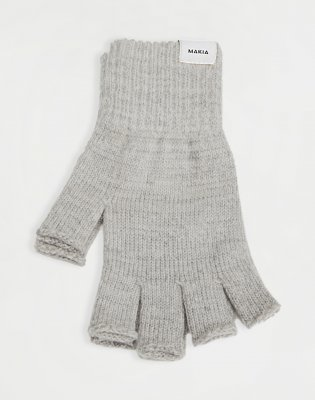 Makia Wool Fingerless Gloves Light Grey